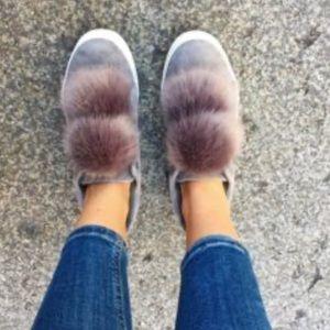 Sam Edelman Pom Pom gray sneakers